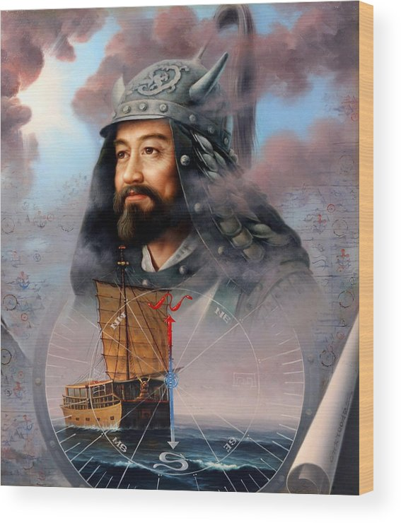 Sea Captain Wood Print featuring the painting World Unification Blue Or Sea Captain by Yoo Choong Yeul