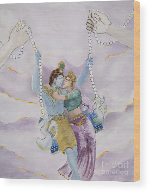 Krishna Painting Wood Print featuring the painting 108 Bhakti Kisses by Sonya Ki Tomlinson
