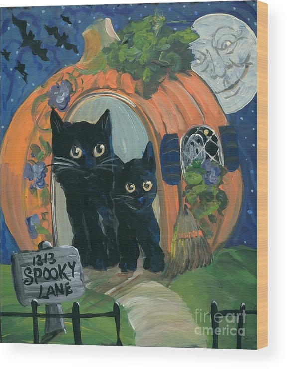 Halloween Wood Print featuring the painting 1313 Spooky Lane by Sylvia Pimental