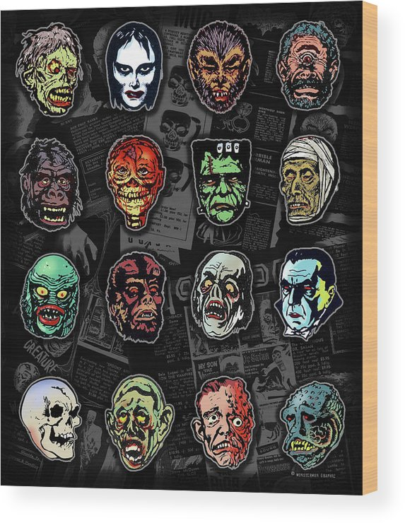 Monster Masks Wood Print featuring the digital art 16 Horror Movie Monsters Vintage Style Classic Horror Movies by Scott Jackson