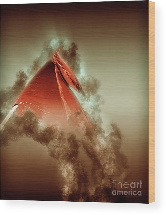 Red Wood Print featuring the photograph Red Flag On Black Background by Humourous Quotes