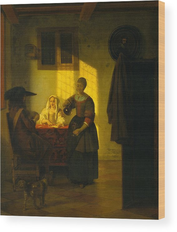 Baroque Wood Print featuring the painting A Couple Playing Cards, With A Serving Woman by Pieter de Hooch