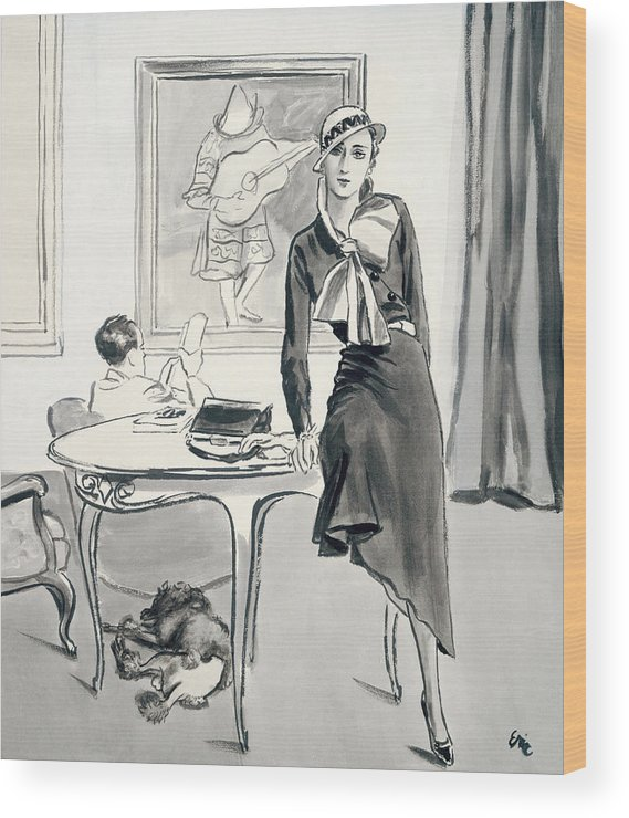 Fashion Wood Print featuring the photograph A Model Wearing Designer Clothing by Carl Oscar August Erickson