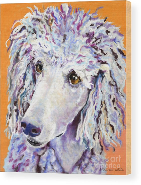 Standard Poodle Wood Print featuring the pastel Above The Standard  by Pat Saunders-White