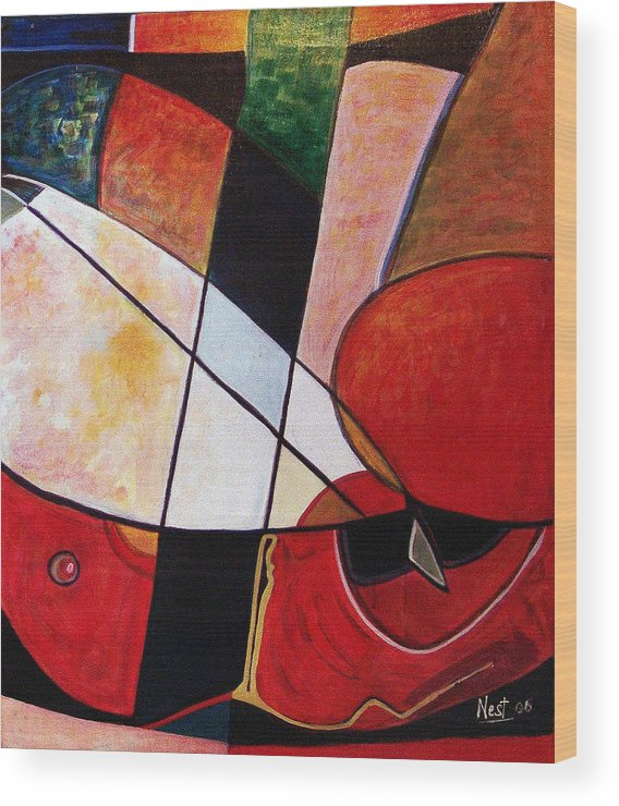 Abstract Wood Print featuring the painting Abstraction II by Nest Lopes
