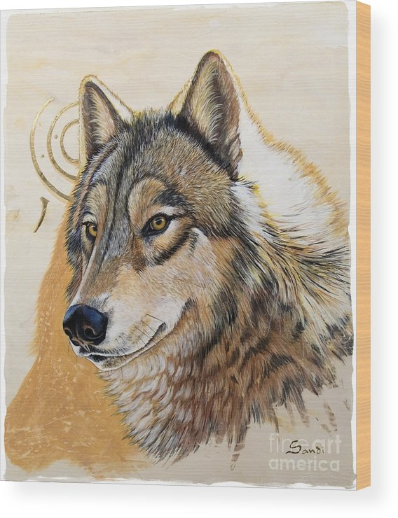 Acrylics Wood Print featuring the painting Adobe Gold by Sandi Baker