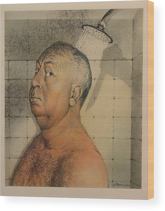 Portrait Wood Print featuring the painting Alfred Hitchcock The Shower by Gary Kaemmer
