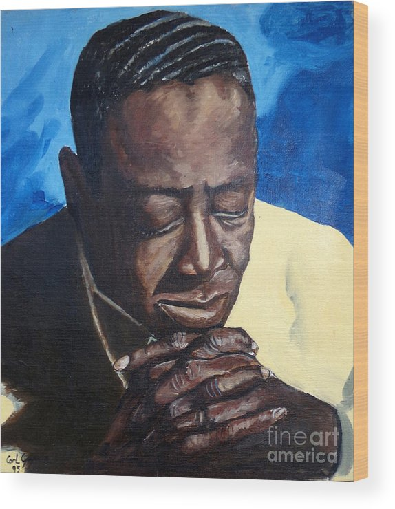 Black Man Praying Wood Print featuring the painting Amen by Carl Gouveia