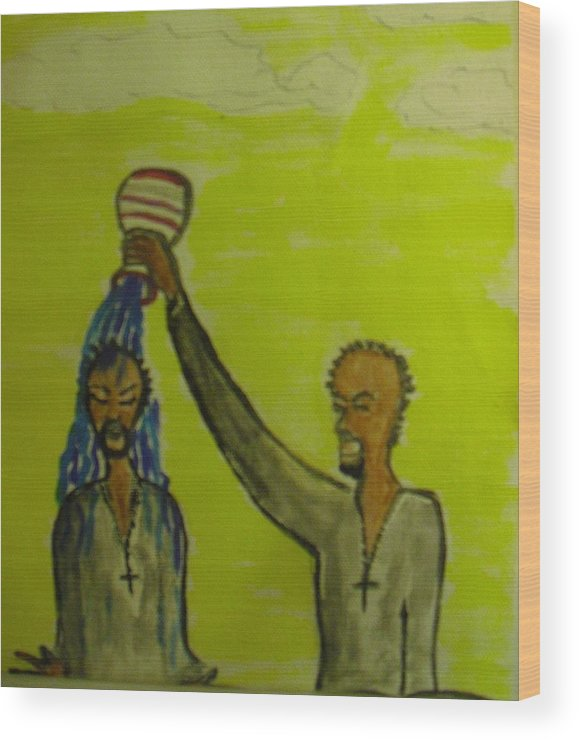 Christian Art Wood Print featuring the painting Anointed Again by Troix Johnson