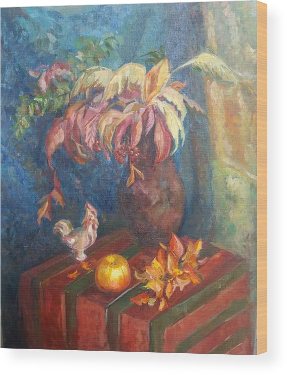 Autumn Wood Print featuring the painting Autumn Still Life by Kateryna Kostiuk-Shostka