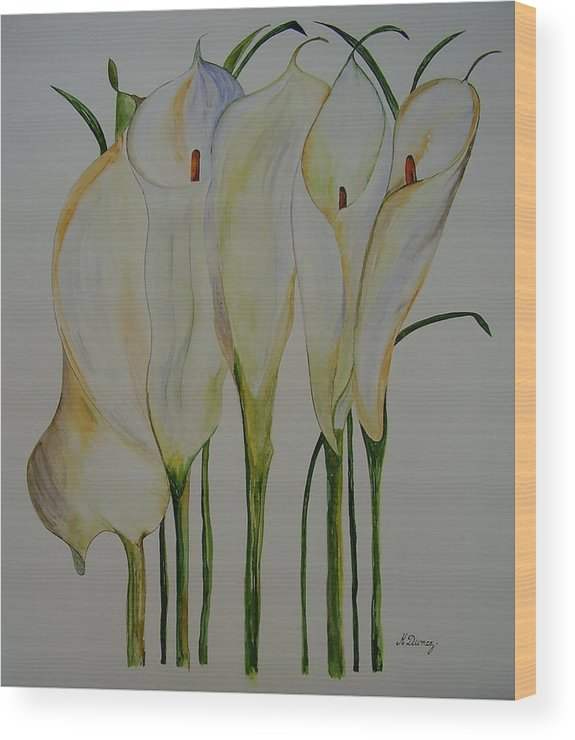 Flowers Wood Print featuring the painting Callas by Murielle Hebert