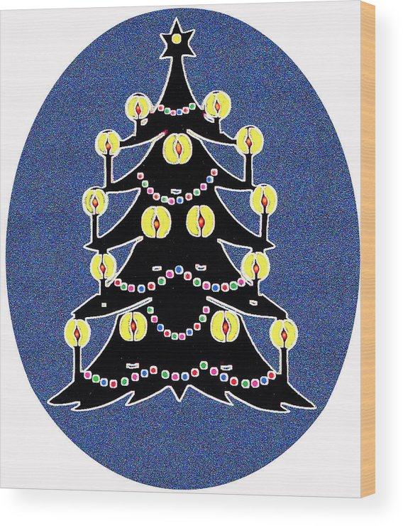 Christmas Wood Print featuring the digital art Candlelit Christmas Tree by Nancy Mueller