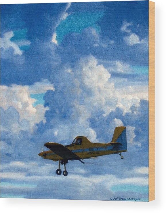 Airplanes Wood Print featuring the painting Crop Duster by Kevin Lawrence Leveque