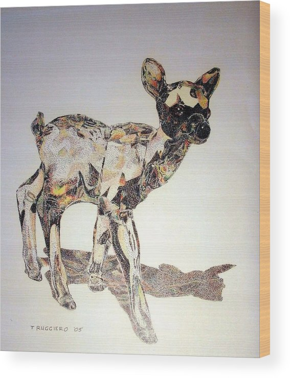 Deer Fawn Crystal Figurine Swarovsky Wood Print featuring the painting Crystal by Tony Ruggiero