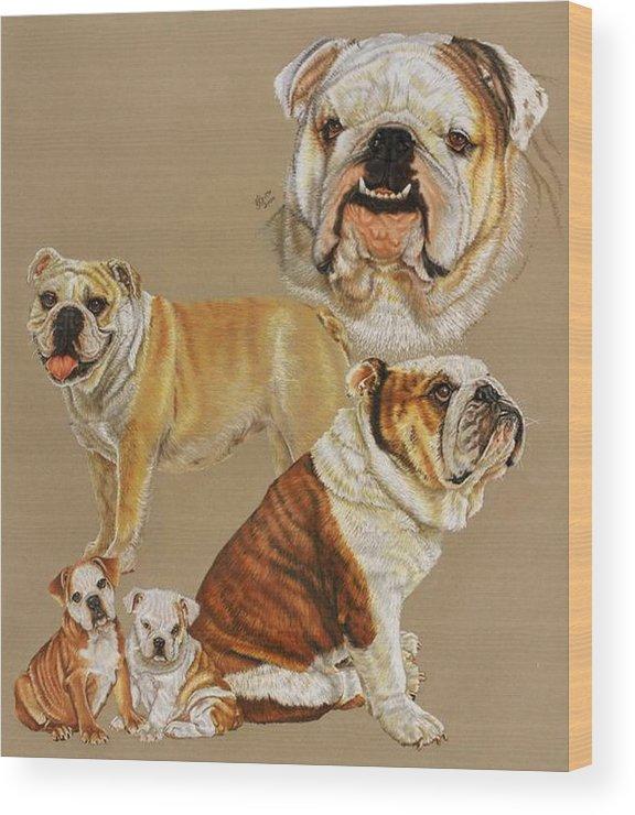 Purebred Wood Print featuring the drawing English Bulldog by Barbara Keith