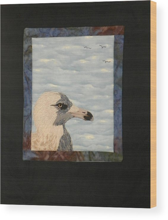 Birds Wood Print featuring the tapestry - textile Eye Of The Gull by Jenny Williams