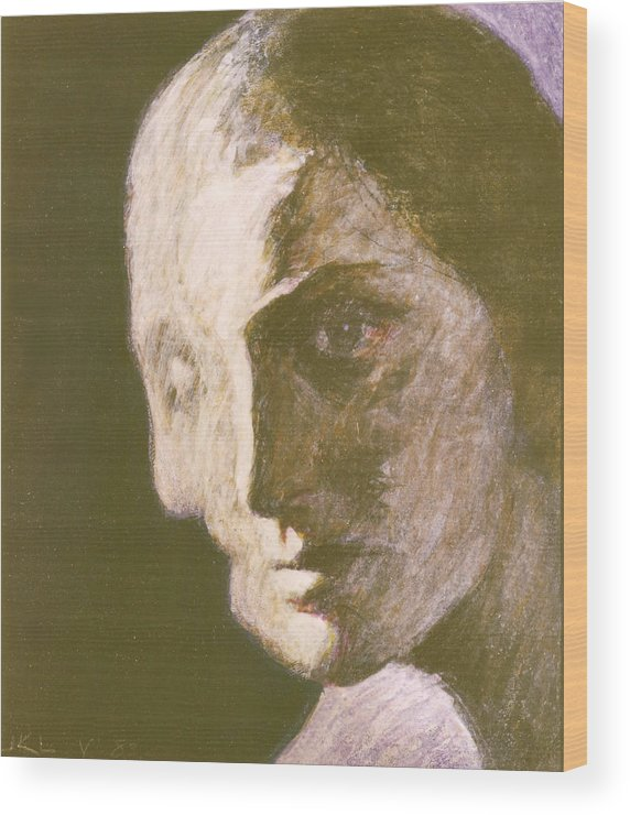 Head-study Wood Print featuring the painting Fear Of Growing Old by James LeGros