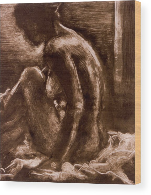 Female Wood Print featuring the painting Female Vi by John Clum