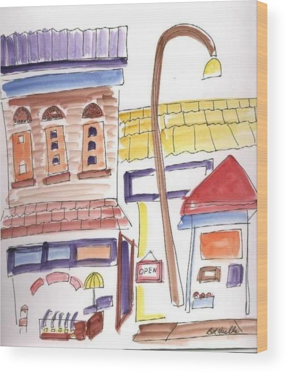Watercolor Wood Print featuring the painting Festival In The City 4 by B L Qualls