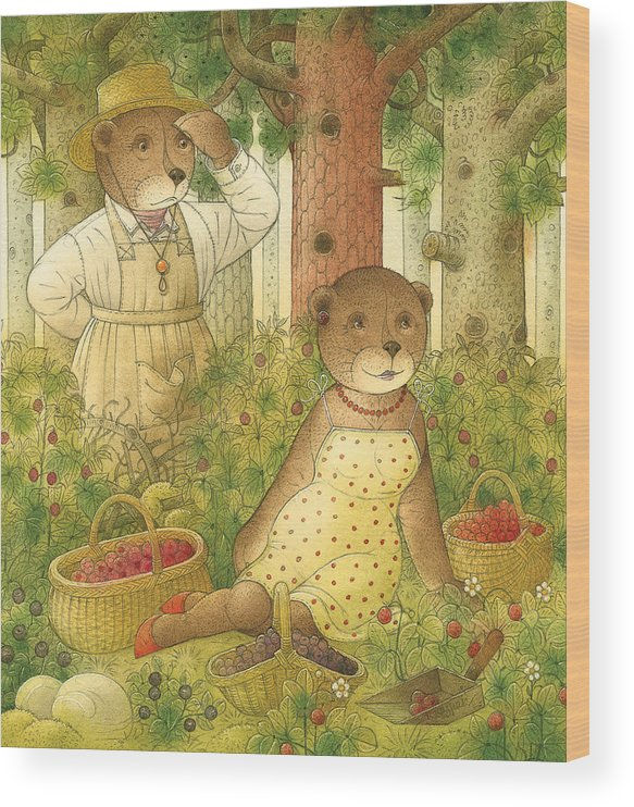 Bears Forest Love Flirt Berry Glamour Wood Print featuring the painting Florentius The Gardener12 by Kestutis Kasparavicius
