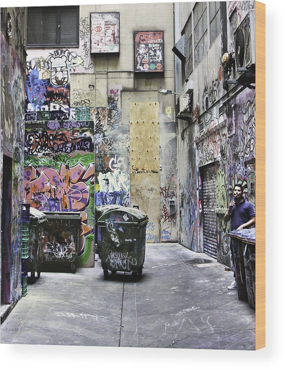 Abstract Wood Print featuring the photograph Grafitti Alley by Mark Coran