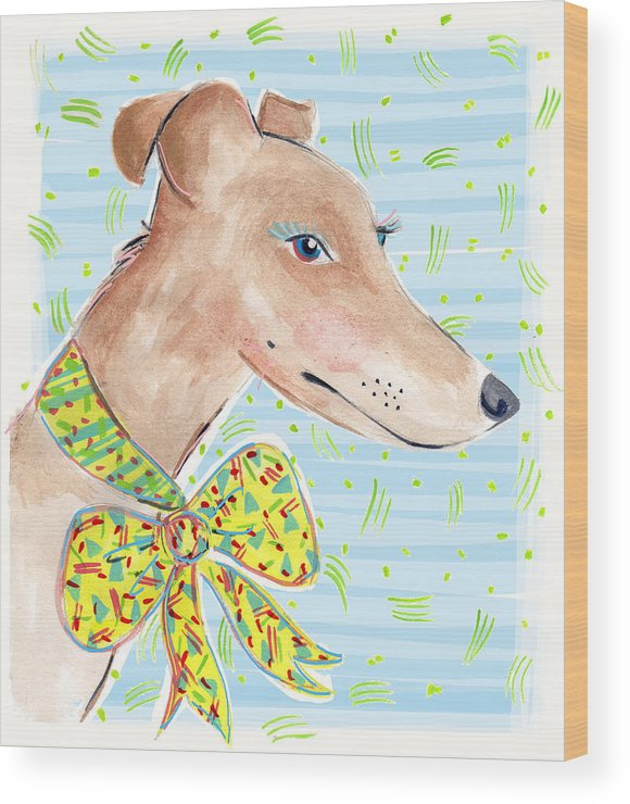Dog Wood Print featuring the painting Greyhound by Jo Chambers