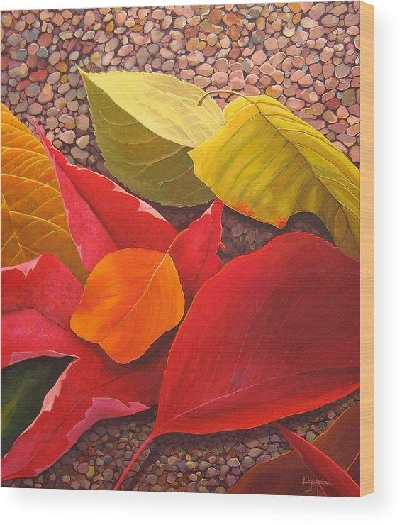 Autumn Leaves Wood Print featuring the painting Happy Landings by Hunter Jay