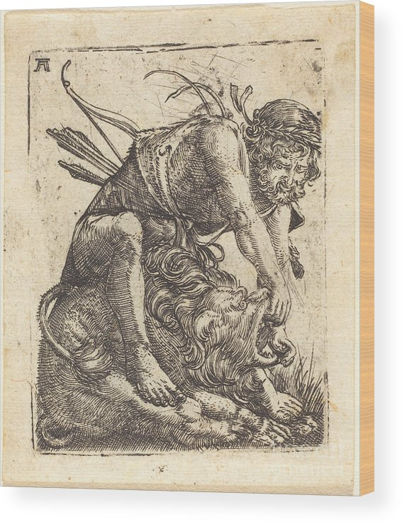 Wood Print featuring the drawing Hercules Overcoming The Nemean Lion by Albrecht Altdorfer