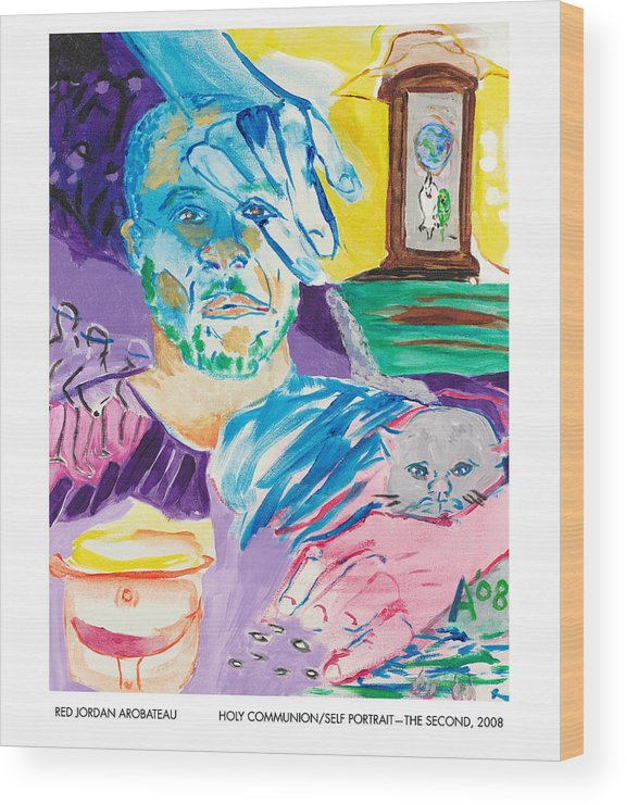 Portrait Wood Print featuring the painting Holy Communion Self Portrait The Second by Red Jordan Arobateau