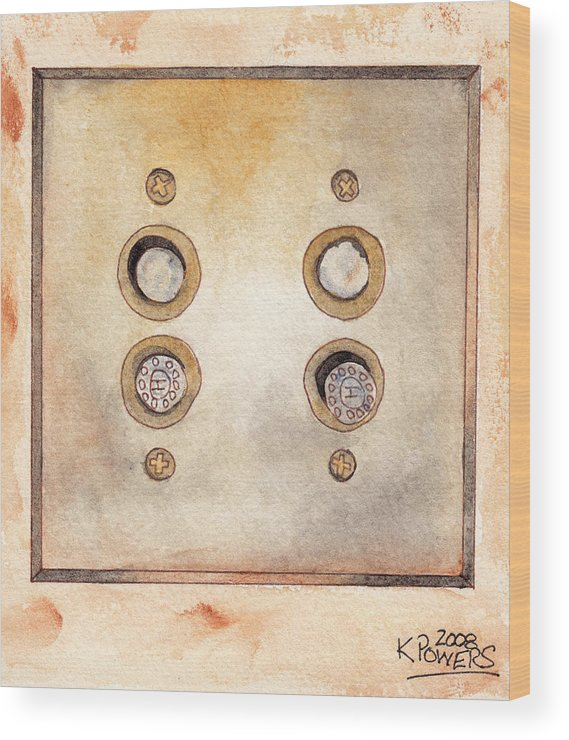 Lightswitch Wood Print featuring the painting Lightswitch by Ken Powers