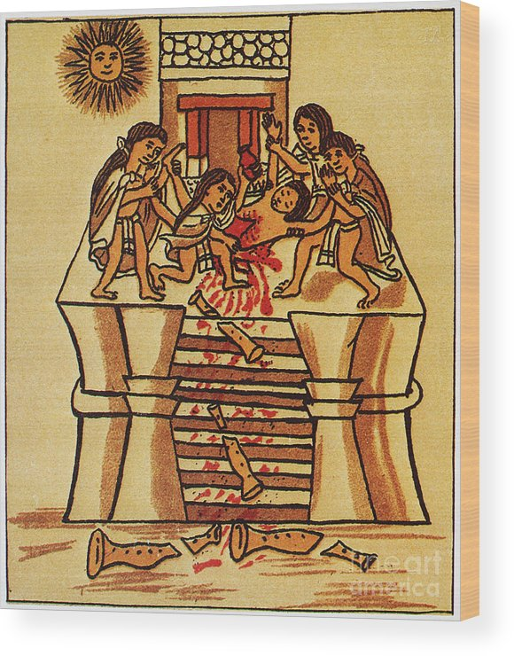 16th Century Wood Print featuring the photograph Mexico: Aztec Sacrifice by Granger
