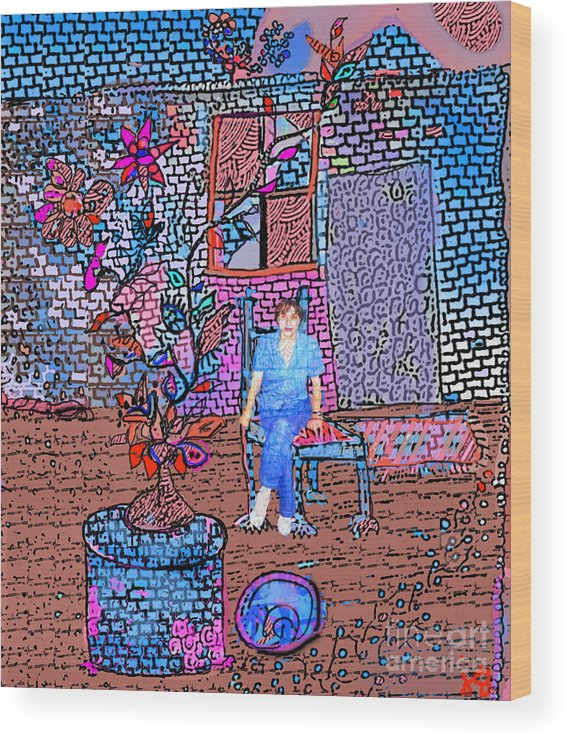 Abstract Wood Print featuring the digital art My Room by Joyce Goldin
