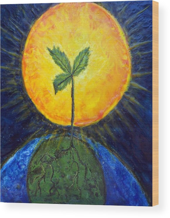 Sun Wood Print featuring the painting New Thought by Karla Phlypo-Price