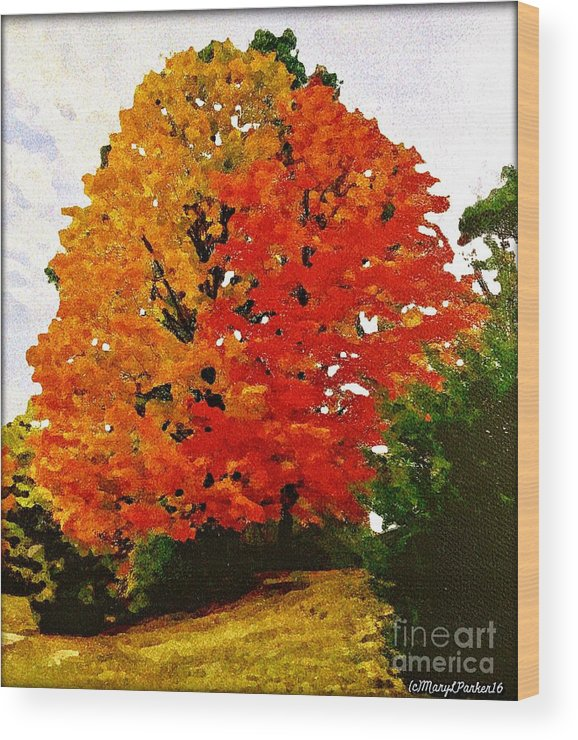 Tree Wood Print featuring the mixed media October Colors by MaryLee Parker