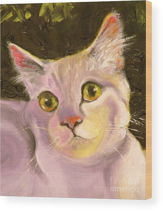 Cat Wood Print featuring the painting Best Friend by Susan A Becker