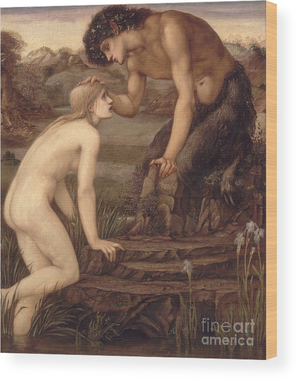 Pan And Psyche Wood Print featuring the painting Pan And Psyche by Sir Edward Burne-Jones