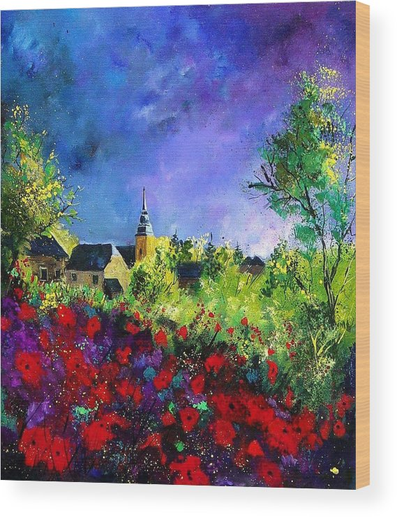 Flowers Wood Print featuring the painting Poppies In Villers by Pol Ledent