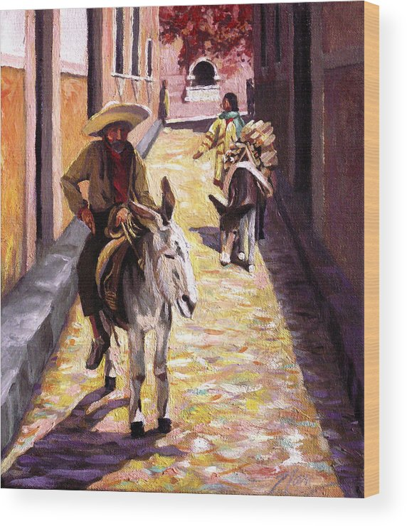 Impressionism Wood Print featuring the painting Pulling Up The Rear In Mexico by Nancy Griswold