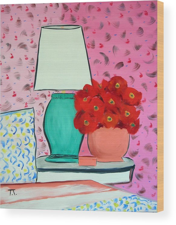 Red Flowers Pink Wallpaper Bedroom Wood Print featuring the painting Red Flowers Pink Room by Troy Thomas