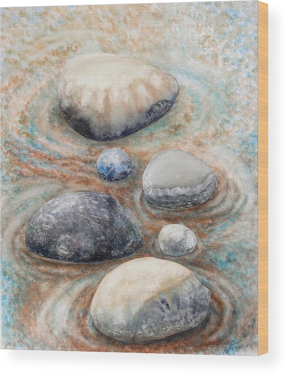 Abstract Wood Print featuring the painting River Rock 2 by Valerie Meotti