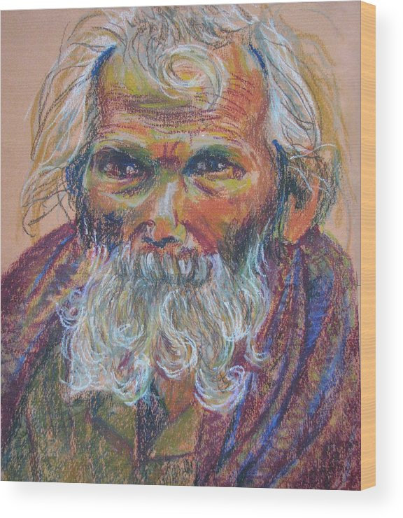 Old Man Wood Print featuring the painting Scared Old Begger by Art Nomad Sandra Hansen