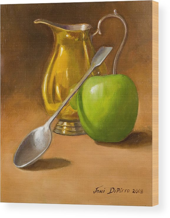 Sill Life Wood Print featuring the painting Spoon And Creamer by Joni Dipirro
