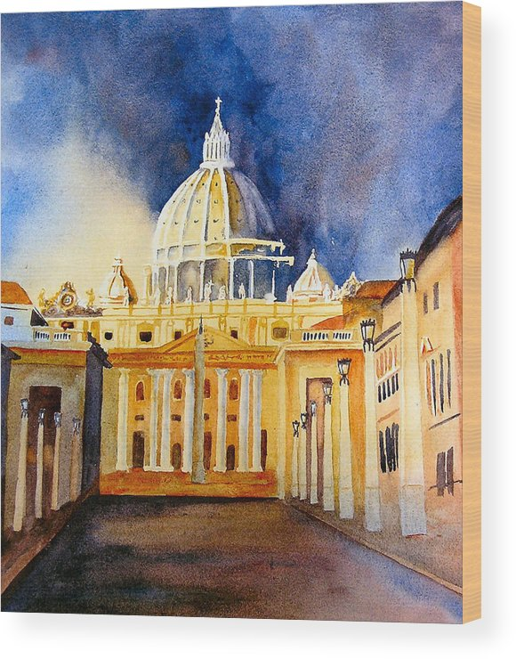 Vatican Wood Print featuring the painting St. Peters Basilica by Karen Stark