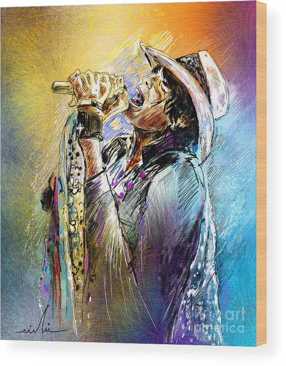 Portraits Wood Print featuring the painting Steven Tyler 01 Aerosmith by Miki De Goodaboom