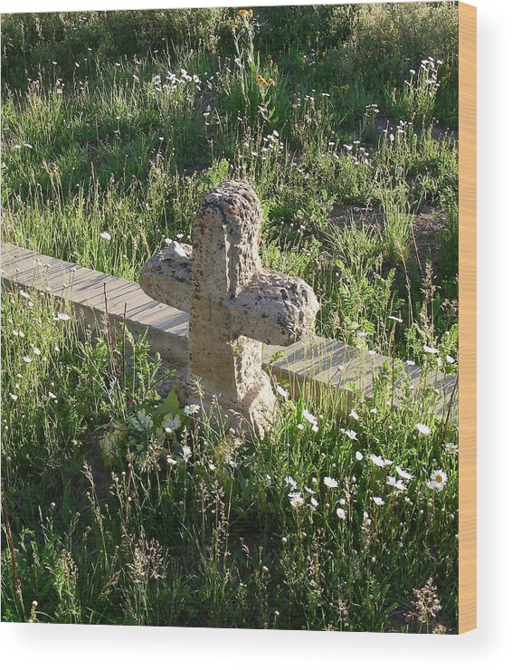 Landscape Wood Print featuring the photograph Stone Cross by Peter McIntosh