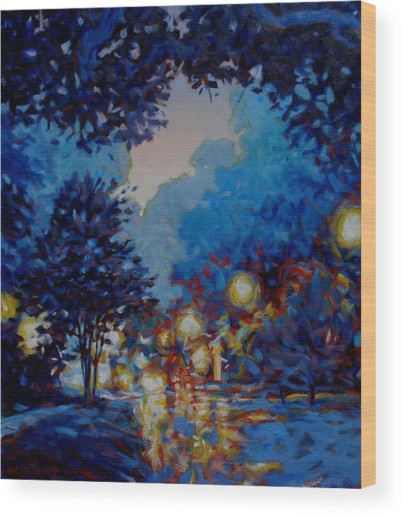 City Wood Print featuring the painting Street Lights by Kevin Lawrence Leveque