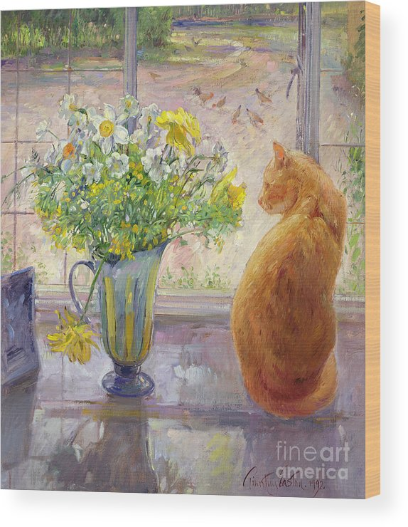 Ginger; Cat; Vase; Narcissi; Chicken; Pheasants Eye; Flower; Flowers ; Window; Open Window; Pheasant Wood Print featuring the painting Striped Jug With Spring Flowers by Timothy Easton