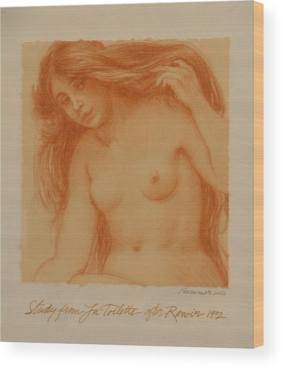 Female Wood Print featuring the painting Study From La Toilette After Renoir by Gary Kaemmer