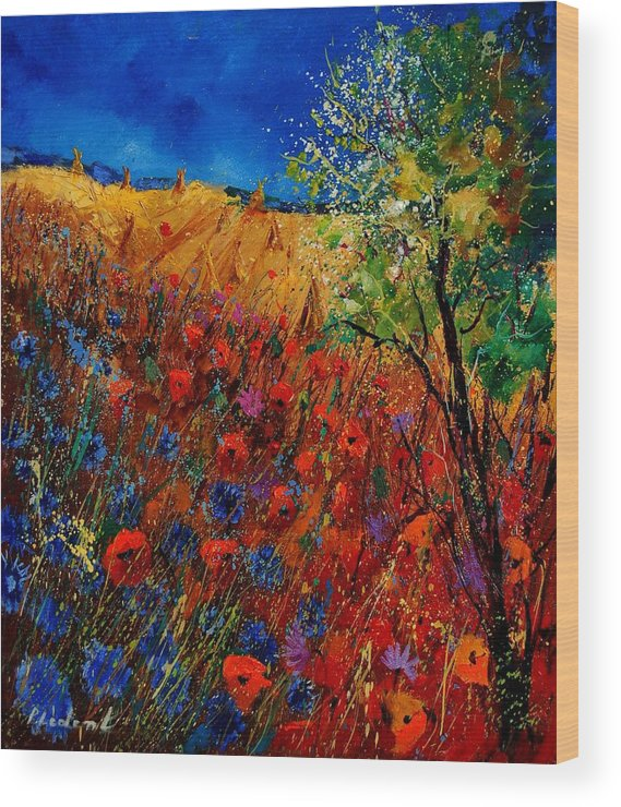 Flowers Wood Print featuring the painting Summer Landscape With Poppies by Pol Ledent