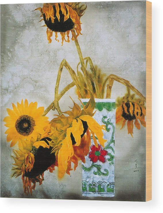 Painting Wood Print featuring the painting Sun Flowers No.1 by Minxiao Liu